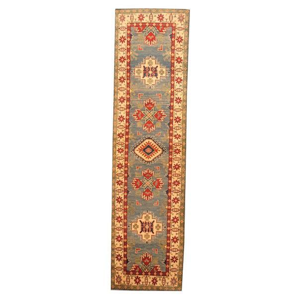 Herat Oriental Afghan Hand-knotted Tribal Kazak Light Blue/ Ivory Wool Rug (2'7 x 10'2) - 2'7 x 10'2