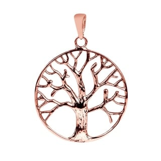 Circular Tree of Life Gold Vermeil Over .925 Silver Pendant (Thailand)
