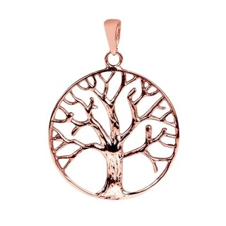 Winter Tree of Life Gold Vermeil Solid .925 Silver Pendant (Thailand) - rose gold