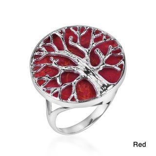 Mystical Tree of Life Stone Inlay .925 Silver Ring (Thailand)