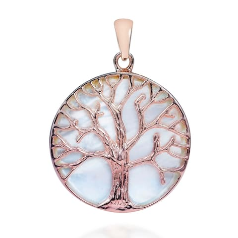 Handmade Tree of life MOP Pink Rose Gold Over .925 Silver Pendant (Thailand)