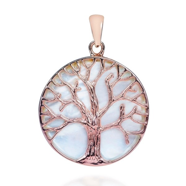 Handmade Tree of life MOP Pink Rose Gold Over .925 Silver Pendant (Thailand). Opens flyout.