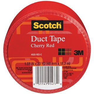 Scotch Solid Color Duct Tape 1.88:x20yd-Cherry Red