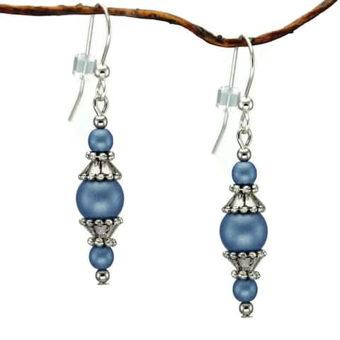 Handmade Jewelry by Dawn Round Blue Glass Beads With Pewter Accents Dangle Earrings (USA)