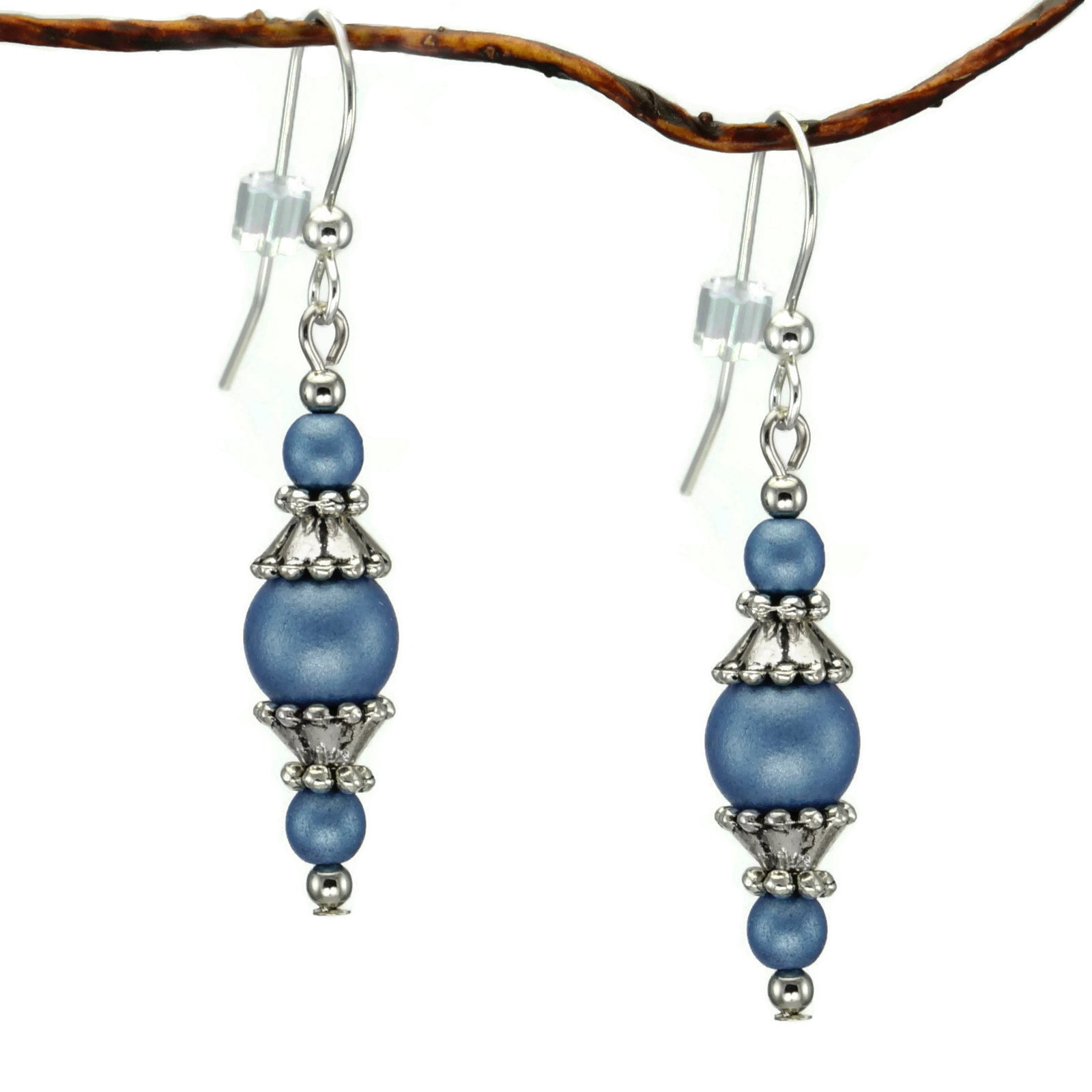 Jewelry by Dawn Round Blue Glass Beads With Pewter Accent...