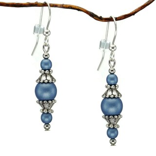Handmade Jewelry by Dawn Round Blue Glass Beads With Pewter Accents Dangle Earrings