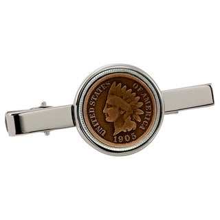 American Coin Treasures Indian Penny Silvertone Tie Clip