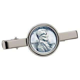 American Coin Treasures 1943 Lincoln Steel Penny Silvertone Tie Clip