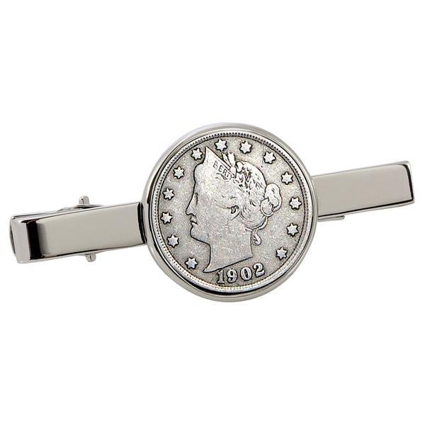 American Coin Treasures Liberty Nickel Silvertone Tie Clip