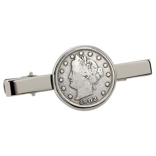 American Coin Treasures Liberty Nickel Silvertone Tie Clip