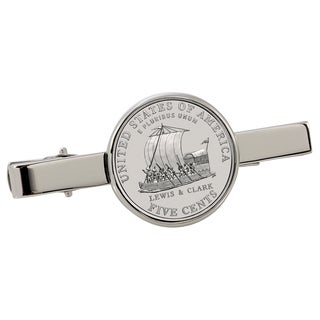American Coin Treasures Westward Journey Keelboat Nickel Silvertone Tie Clip