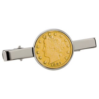 American Coin Treasures Gold-Plated 1800's Liberty Nickel Silvertone Tie Clip