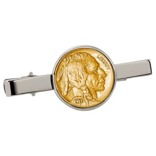 American Coin Treasures Gold-Plated Buffalo Nickel Silvertone Tie Clip