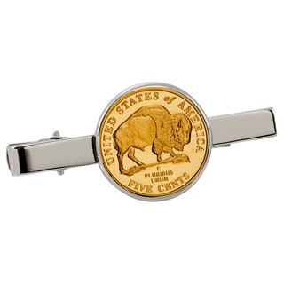 American Coin Treasures Gold-Plated Westward Journey Bison Nickel Silvertone Tie Clip