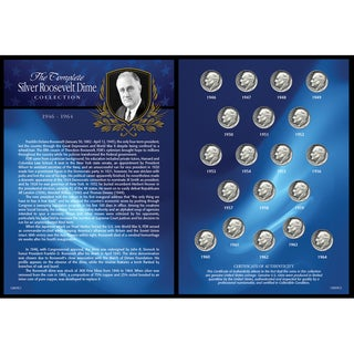 American Coin Treasures Complete Silver Roosevelt 1946-1964 Dime Collection