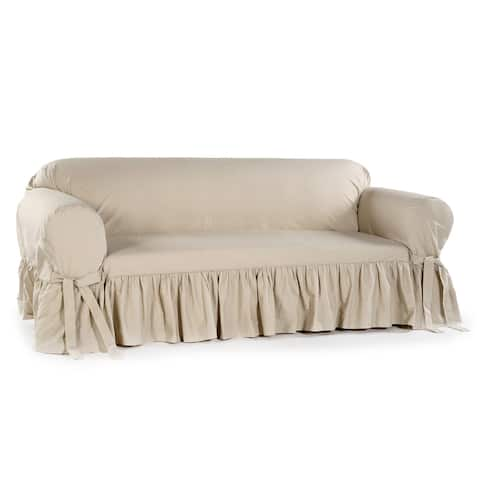 Ruffled Cotton Loveseat Slipcover