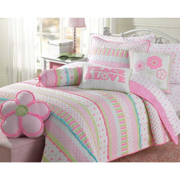 Greta Pastel Cotton 3 Piece Quilt Set Free Shipping