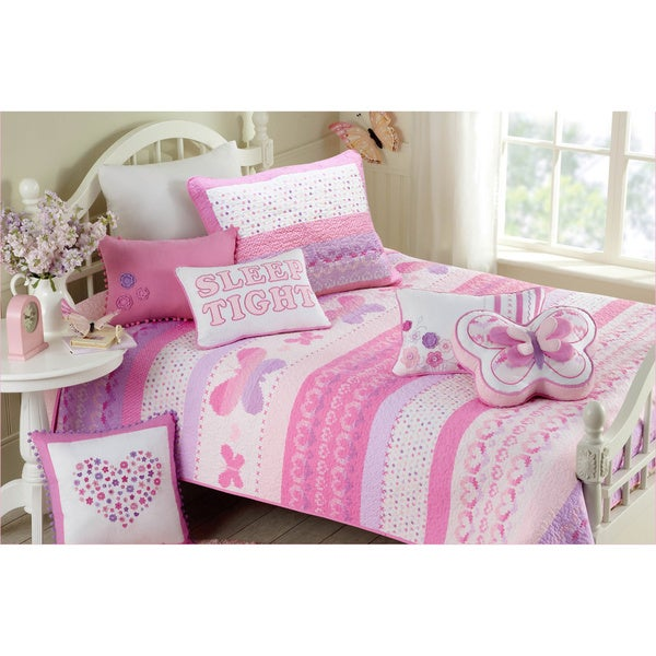 Butterfly Fairisle Cotton 3-piece Quilt Set - Free Shipping Today ...