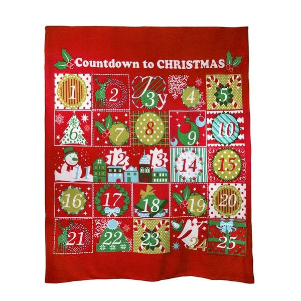 Christmas Advent Calender Fleece Throw Blanket