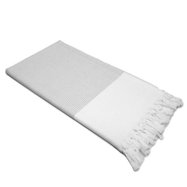 Authentic Pestemal Fouta Grey and White Pencil Stripe Turkish Cotton Bath/ Beach Towel