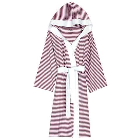 Women's Organic Cotton White and Lavender Stripe Bath Robe