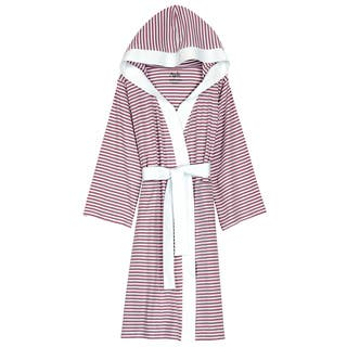 Women's Organic Cotton White and Lavender Stripe Bath Robe|https://ak1.ostkcdn.com/images/products/9467160/P16650099.jpg?impolicy=medium