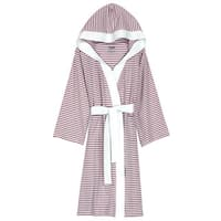 Women's Organic Cotton White and Lavender Stripe Bath Robe