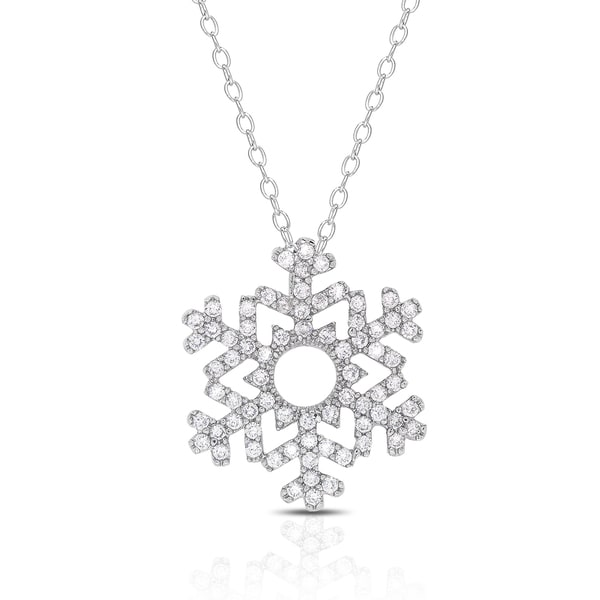 Dolce Giavonna Silver Overlay Cubic Zirconia Snowflake Necklace
