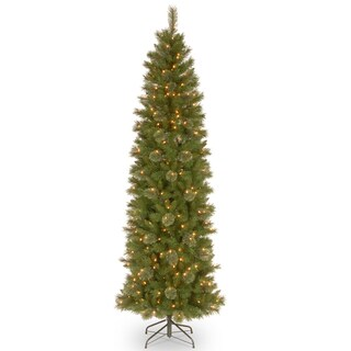 7 1/2' Tacoma Pine Pencil Slim Tree with 350 Clear Lights