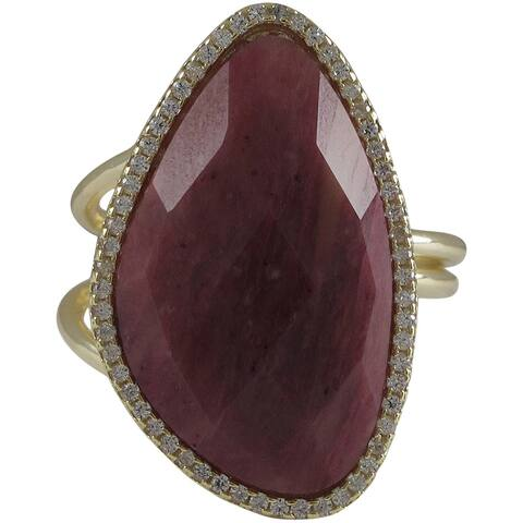 Luxiro Gold over Sterling Silver Multi-gemstone Cubic Zirconia Accent Adjustable Ring