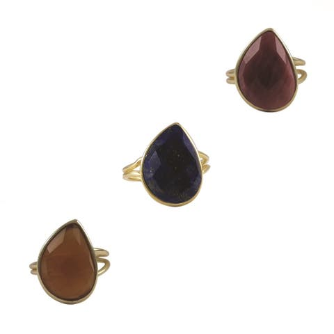 Luxiro Gold over Sterling Silver Pear-cut Gemstone Adjustable Ring
