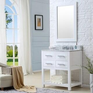 Water Creation Madalyn 30-inch Solid White Single Sink Bathroom Vanity