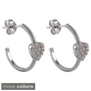 Luxiro Sterling Silver Gold Finish Pave CZ Heart endless Hoop Girls and Teens Earrings