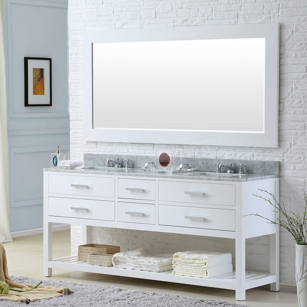Water Creation Madalyn 72-inch Solid White Double Sink Bathroom Vanity