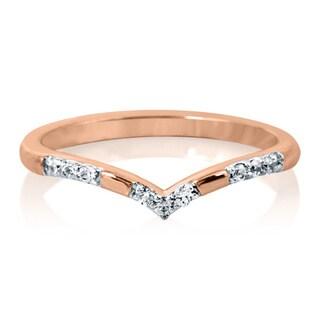 Bridal Symphony 10K Rose Gold 1/10ct TDW Diamond Contour Band