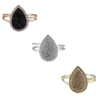 Luxiro Sterling Silver Cubic Zirconia Adjustable Right Hand Ring
