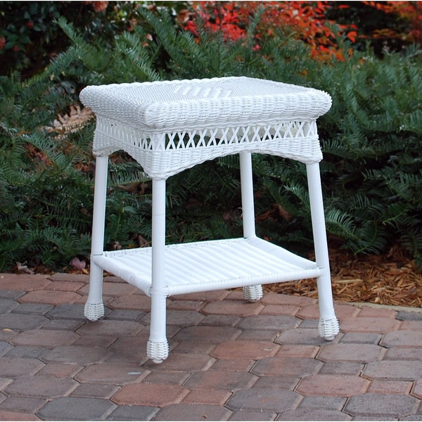 tortuga outdoor portside white side table free shipping today 16650503. Black Bedroom Furniture Sets. Home Design Ideas