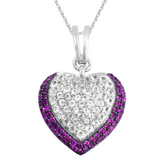 Sterling Silver White Topaz and Pink Sapphire Heart Pendant