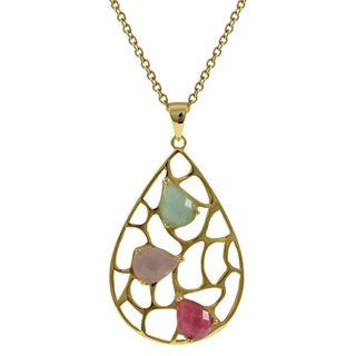 Luxiro Gold over Sterling Silver Multi-color Gemstone Pendant Necklace