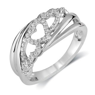 Bridal Symphany Sterling Silver 1/7ct TDW Diamond Heart Fashion Ring (I-J, I2-I3)