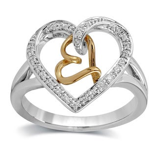 Bridal Symphony Sterling Silver 1/10ct TDW Diamond Heart Fashion Ring (I-J, I3)