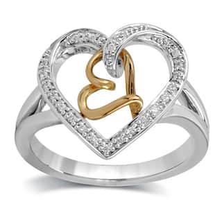 Bridal Symphony Sterling Silver 1/10ct TDW Diamond Heart Fashion Ring (I-J, I3)|https://ak1.ostkcdn.com/images/products/9467632/P16650508.jpg?impolicy=medium