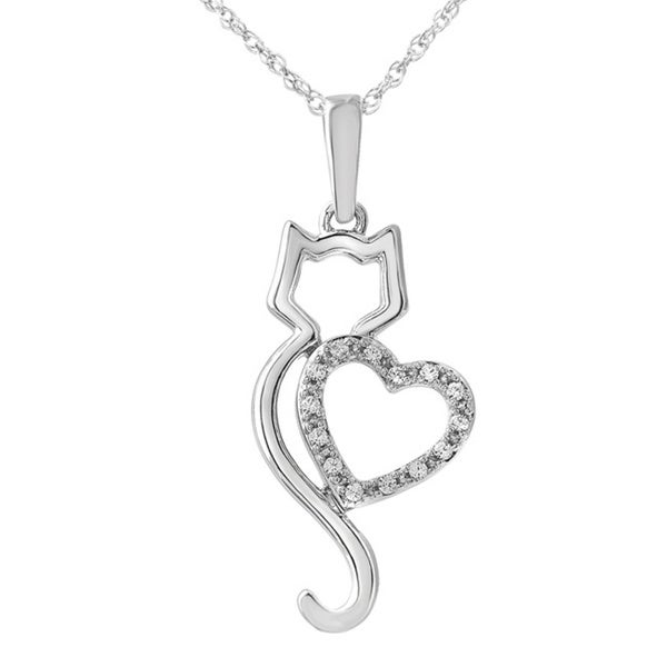 Bridal Symphony Sterling Silver White Diamond Accent Cat Pendant Necklace