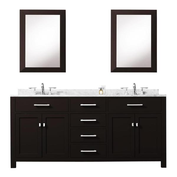 72 Madison Double Vessel Sink Vanity: Shop Water Creation Madison 72-inch Espresso Double Sink Bathroom Vanity With 2 Framed Mirrors