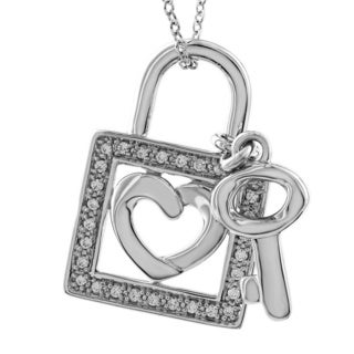 Bridal Symphony Sterling Silver 1/6ct TDW White Diamond Lock and Key Pendant Necklace (I-J, I2-I3)