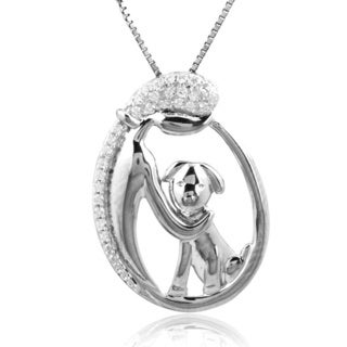Bridal Symphony Sterling Silver 1/10ct TDW White Diamond Dog Pendant Necklace (I-J, I2-I3)