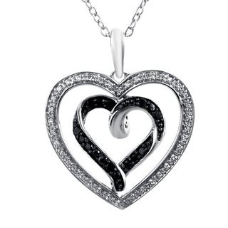 Bridal Symphony Sterling Silver 1/3ct TDW White Diamond Heart Pendant Necklace (I-J, I2-I3)