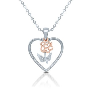 Unending Love Two-tone Sterling Silver 1/10ct Diamond Rose Heart Pendant