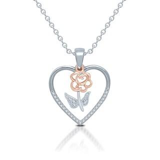 Unending Love Two-tone Sterling Silver 1/10ct Diamond Rose Heart Pendant