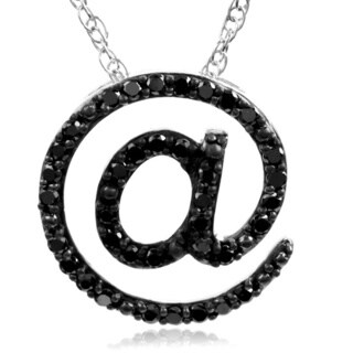Bridal Symphony Sterling Silver 1ct TDW Black Diamond Symbol Pendant Necklace(Black, I3)